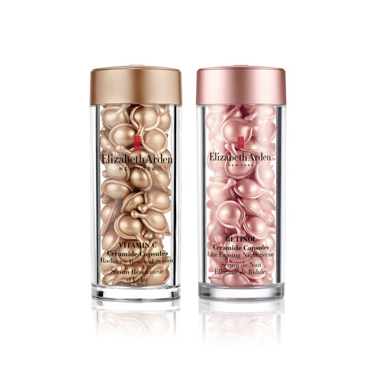 Vitamin C Ceramide Radiance Renewal Serum and Retinol Ceramide Capsules Line Erasing Night Serum Duo, , large