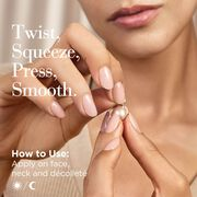 Twist, Squeeze, Press and smooth- Apply on face, neck and decollete morning and night