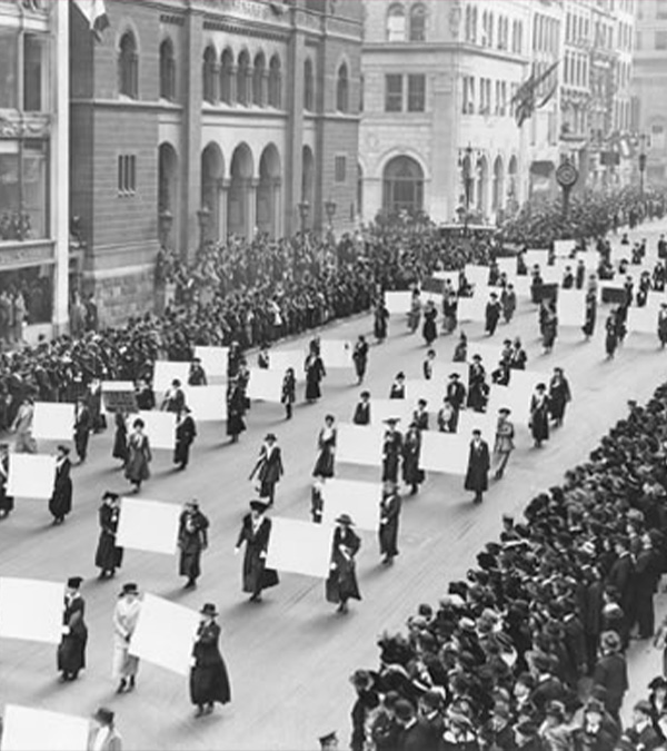 suffragettes Marching on 5th Avenue