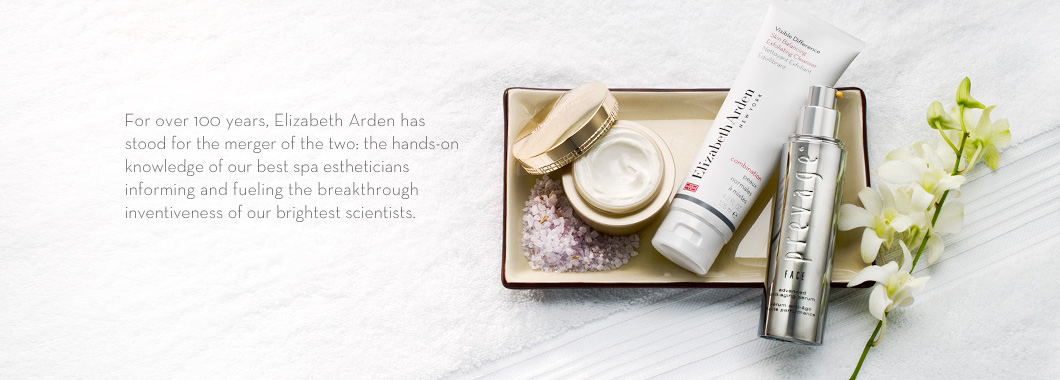 For over 100 years, Elizabeth Arden has stood for the merger of the two: the hands-on knowledge of our best spa estheticians fueling the breakthrough inventiveness of our brightest scientists.
