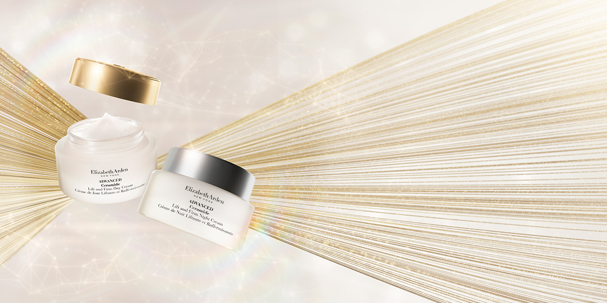 Ceramide Lift and Firm Day Cream and Ceramide Lift and Firm Night Cream on a sparkling background