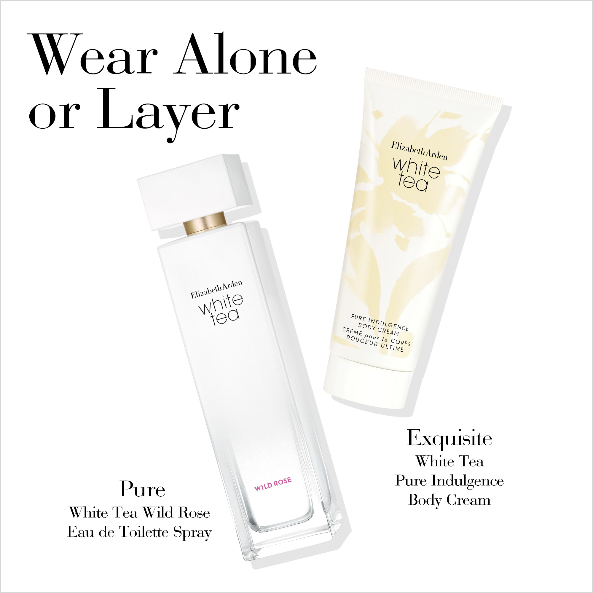 Wear Alone or Layer- Pure White Tea Wild Rose Spray and Exquisite White Tea Body Cream