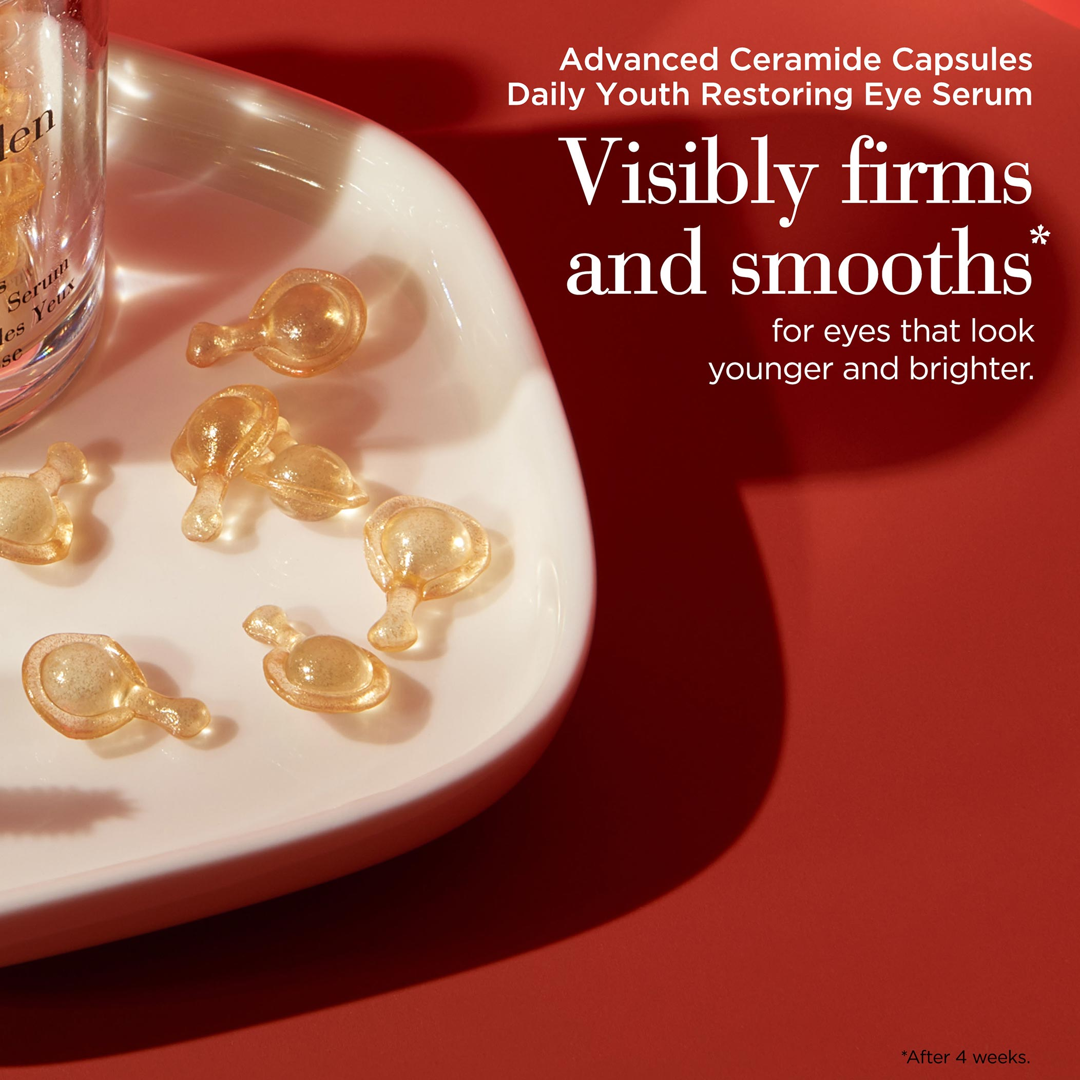 Advanced Ceramide Capsules Eye Serum visibly firms and smooths after 4 weeks for eyes that look younger and brighter