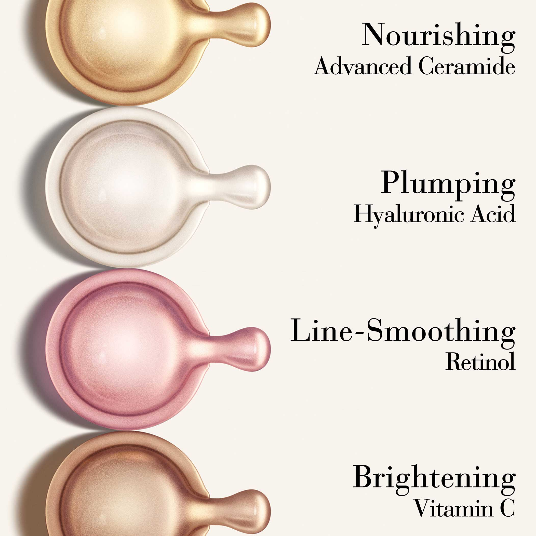 Advanced Ceramide Nourishes, Hyaluronic Acid Plumps, Retinol smooths line, Vitamin C brightens