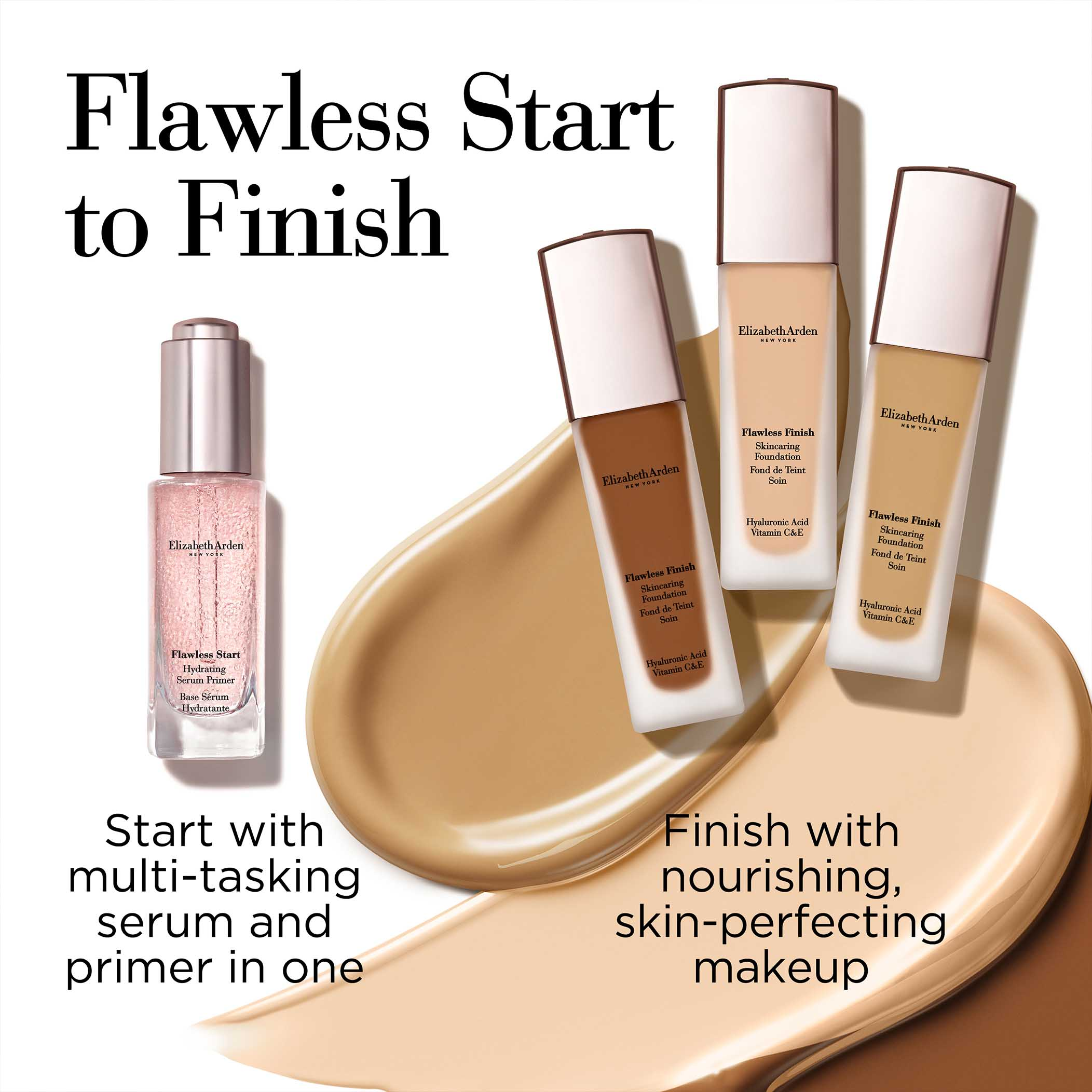 Flawless Start to Finish- Start with multi-tasking serum and primer in one. Then finish with nourishing, skin-perfecting makeup