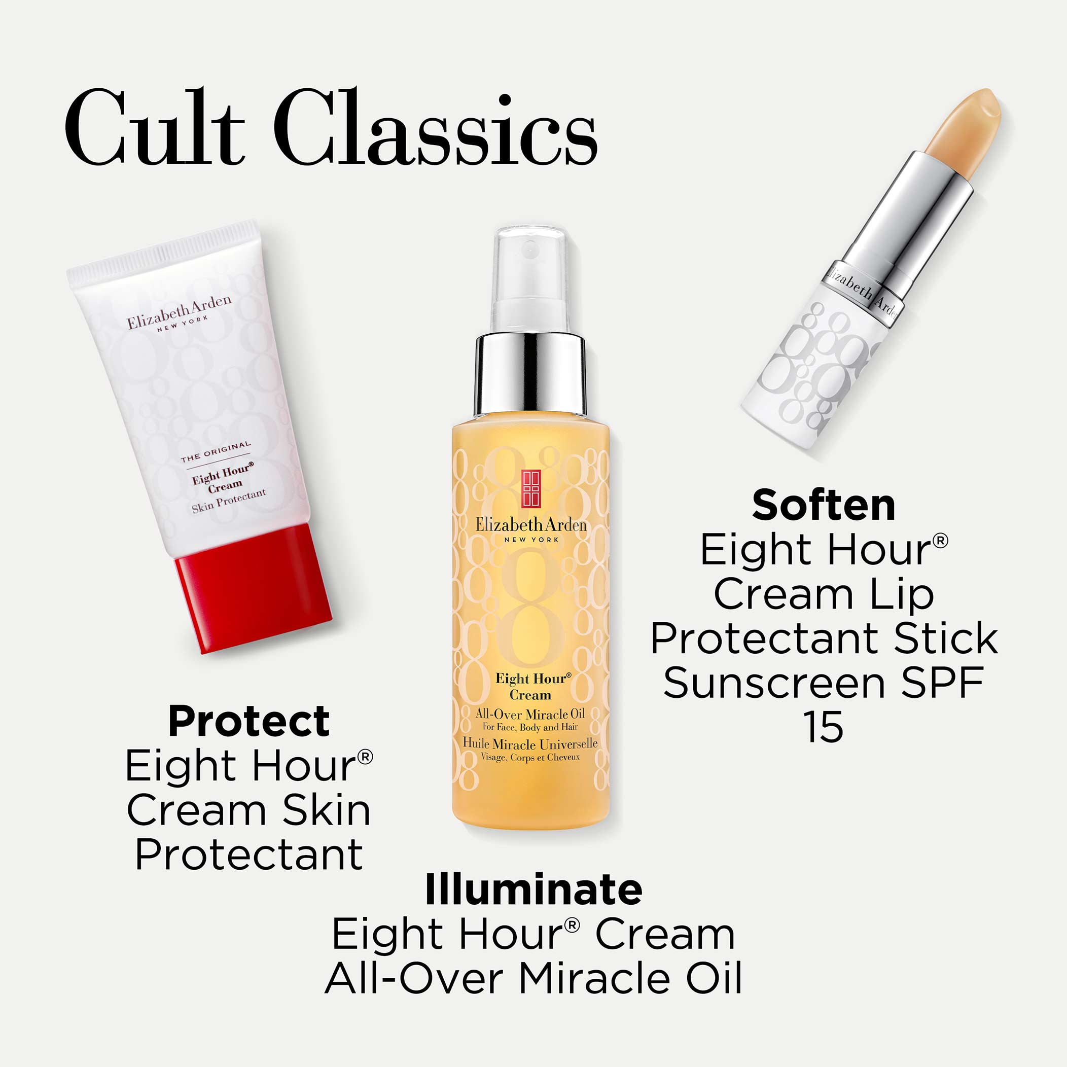 Includes: Eight Hour Skin Protectant, Eight Hour All-Over Miracle Oil and Eight Hour Cream Lip Protectant Stick Sunscreen SPF15