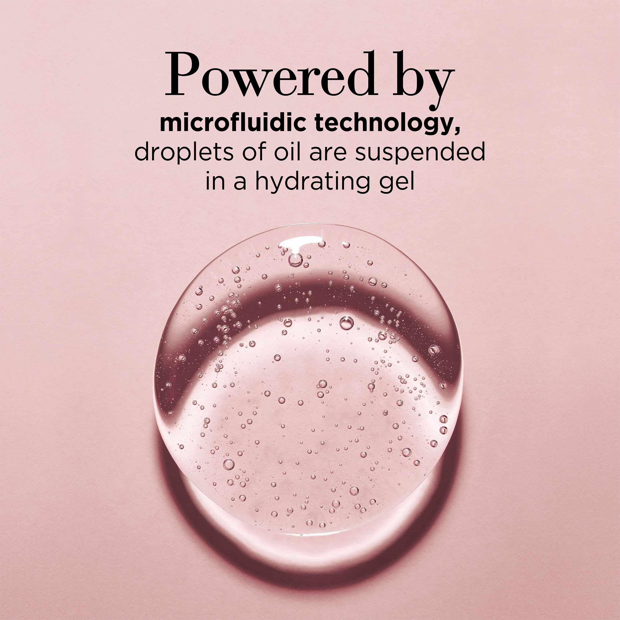 Powered by microfluidic technology, droplets of oil are suspended in a hydrating gel