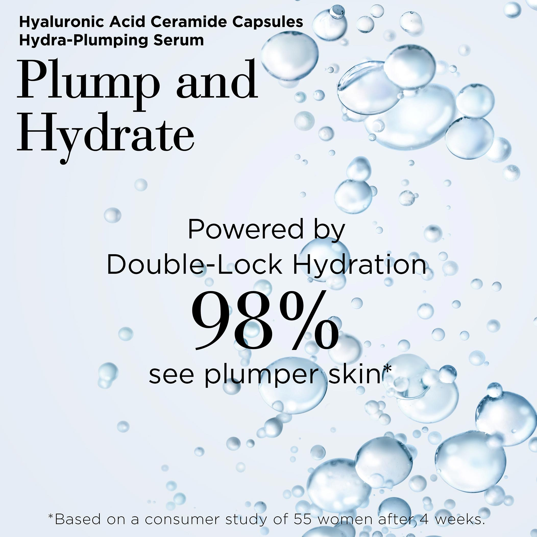 Hyaluronic Acid Capsules Plump and Hydrate- Powered by double-lock hydration, 98% see plumper skin based on a consumer study of 55 women after 4 weeks